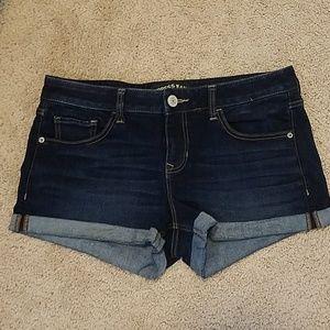 Dark Wash Cuffed Denim Shorts